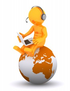 Support phone operator sitting on earth globe