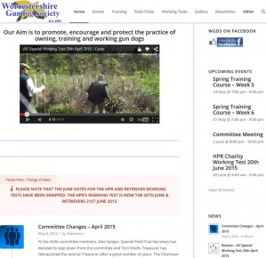 A screen shot of Worcestershire Gundog Society Website.